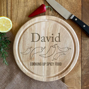 Personalised Round Wooden Chopping Board Spicy Food