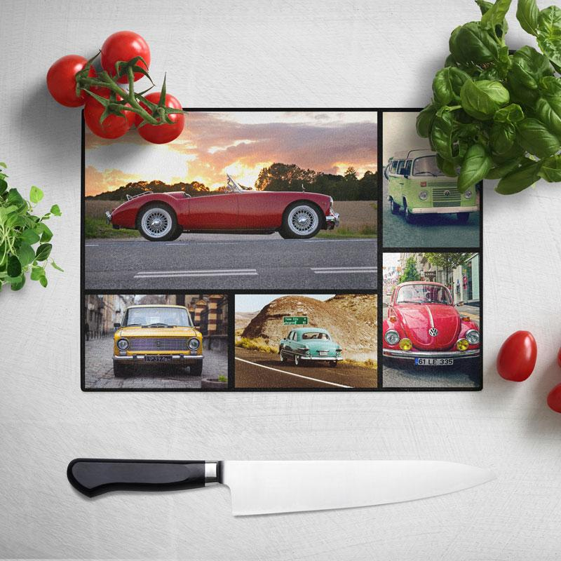 A personalised photo collage glass chopping board with 5 photos of classic cars printed on it.