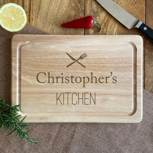 Personalised Wooden Chopping Board Knife and Fork