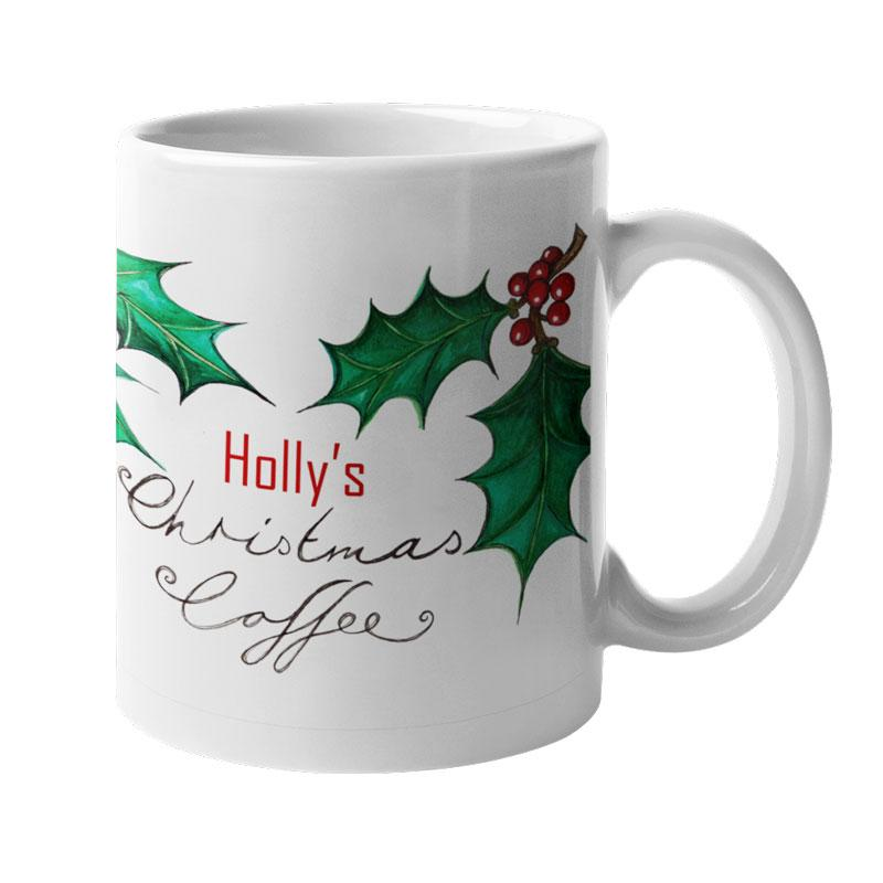 A personalised Christmas mug with a holly berry pattern