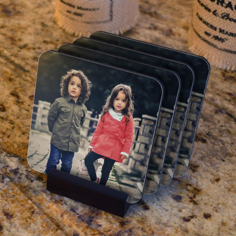 Personalised Photo Coaster Set With Stand