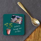 a personalised teal coaster with a family photo and personalised message