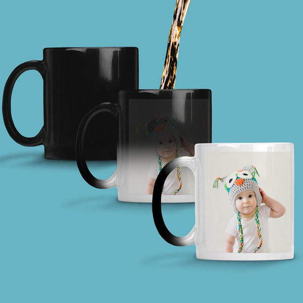 A personalised photo mug which changes colour when it's hot