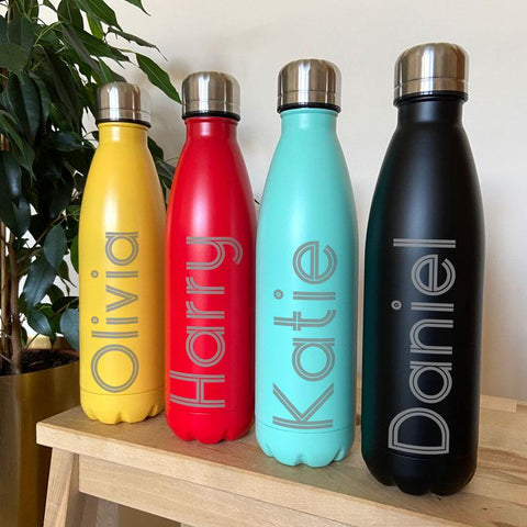Personalised bowling pin water bottle
