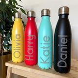 Personalised Engraved Coloured Hot / Cold Bowling Pin Water Bottles 500ml