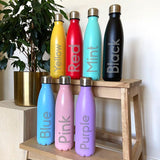 Personalised Flower Icon Engraved Hot / Cold Metal Water Bottle 500ml