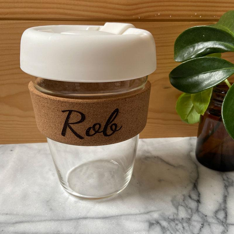Engraved Cork Band Reusable Glass Coffee Keep Cup Birthday Gift