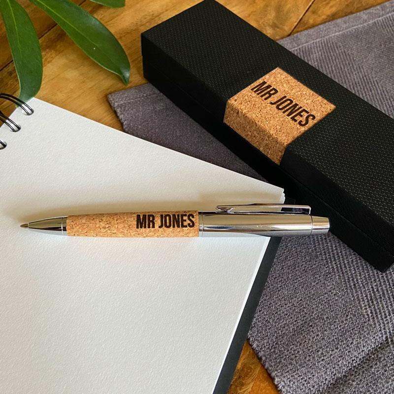 Luxury Personalised Pen Metal Cork Grip Engraved Name