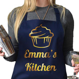Personalised Cupcake Apron in navy blue with gold print