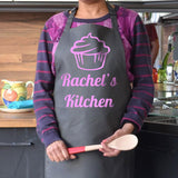 Personalised Cupcake Apron in charcoal with a light pink print