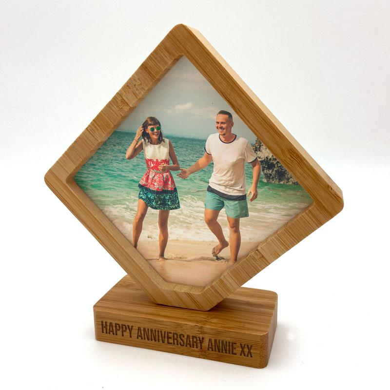Personalised Diamond Revolving Photo Frame Bamboo Engraved Message