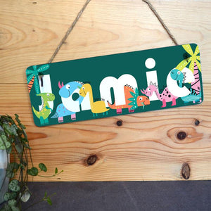 Personalised Teal Dinosaur Bedroom Sign for Kids