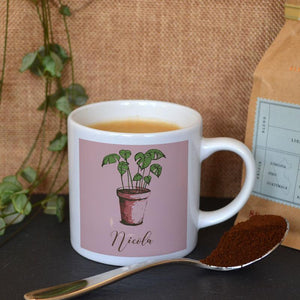 Personalised Pink Espresso Cup with Custom House Plant Design