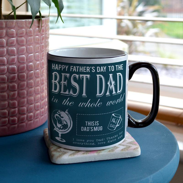 A personalised father's day mug in white, teal and black
