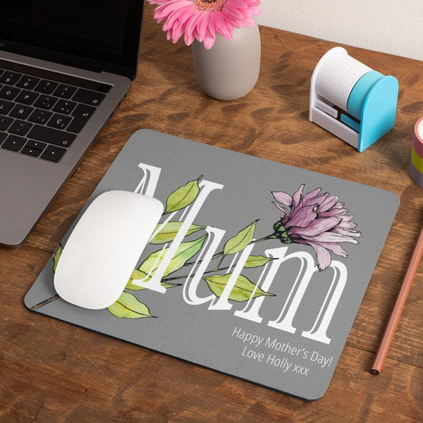 A personalised grey, pink and green mother's day mouse mat.