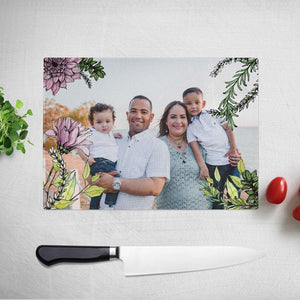 Personalised Flower Pattern Photo Glass Chopping Board