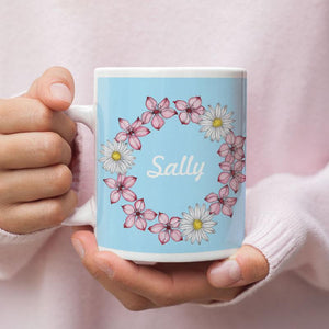 Personalised Flower Wreath Blue Mug Any Message