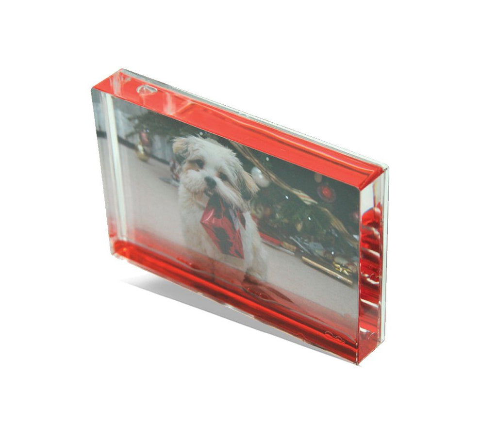 Personalised acrylic photo block with liquid centre in red
