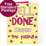 Personalised Well Done Yellow & Pink Card