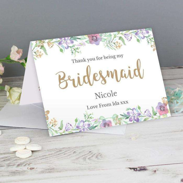 Personalised Floral Watercolour Bridesmaid Wedding Card