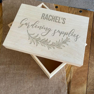 Personalised Engraved Wooden Gardening Supplies Crate