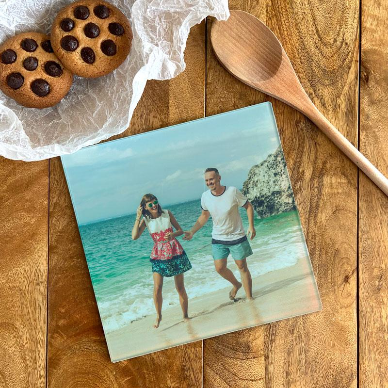 Personalised Square Photo Chopping Board Glass