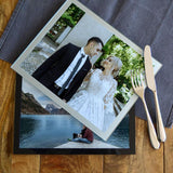 Personalised Glass Photo Placemat Black or Silver Border