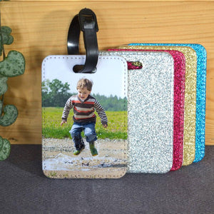 Personalised luggage label with a coloured glitter back and a photo printed on the front.