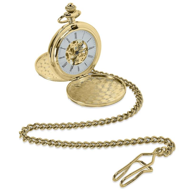 Personalised engraved gold pocket watch with a visible mechanical movement.