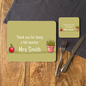 "Personalised ""Thank You Teacher"" Place Mat in Green"