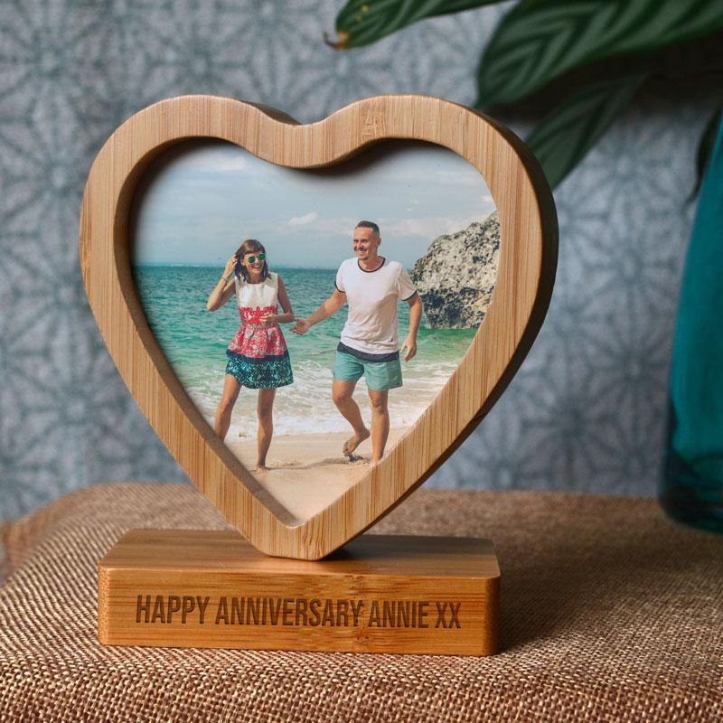 Personalised Heart Shape Bamboo Photo Frame Spinning Photo Frame Always Personal