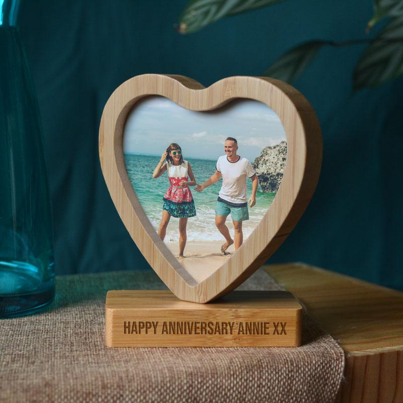 Personalised Heart Shape Bamboo Photo Frame Spinning