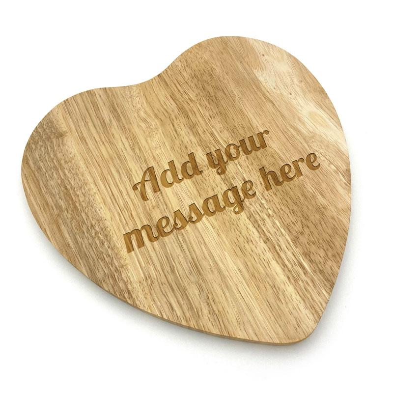 Personalised Wooden Heart Shape Chopping Board Engraved Message