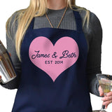 Personalised Valentine's day apron in navy blue