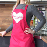 Personalised valentines day apron in hot pink