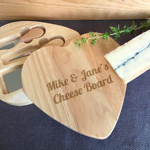 Personalised Wooden Heart Cheese Board and Knife Set Any Message