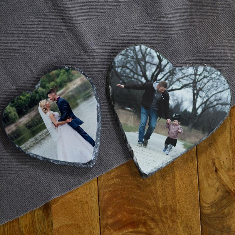 2 personalised photo slates one a small heart shape and one a large heart shape.