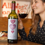 Personalised Hearts Wine Bottle Label