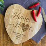 Personalised Home Is Where The Heart Is Wooden Chopping Board Heart Shape