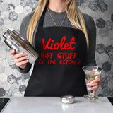 "Personalised ""Hot Stuff"" apron in black with red print"