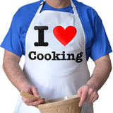 "Personalised white apron with ""I Heart Cooking"" printed on it"