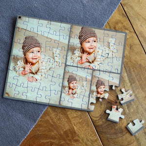 Personalised Photo Collage Jigsaw Grey 4 Images
