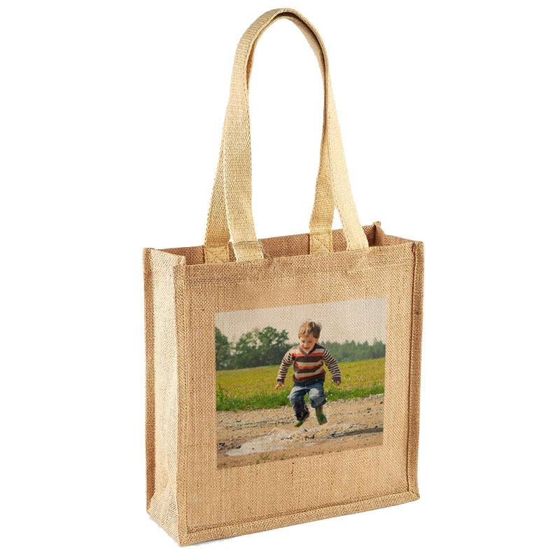 A personalised jute shopper bag printed with a photo