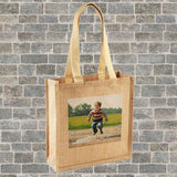 A personalised hessian jute shopper with a photograph printed on the front