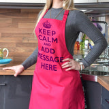 Personalised keep calm and carry on apron in hot pink with purple lettering