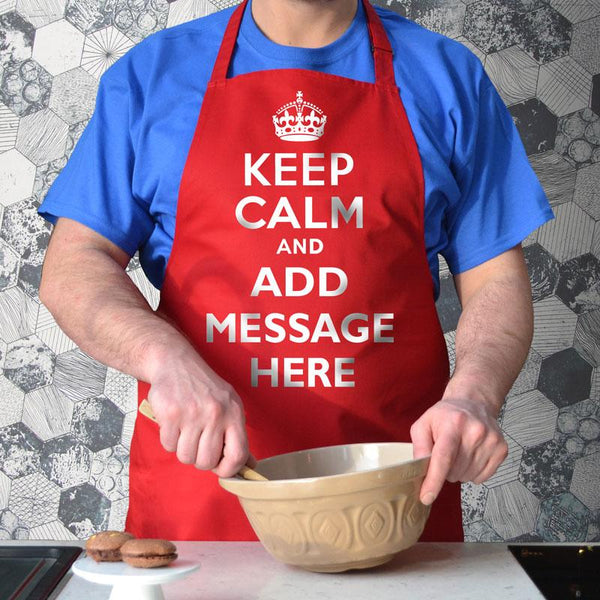 Personalised keep calm and carry on apron in red