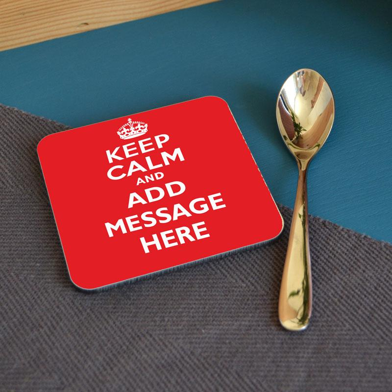 Personalised Square Keep Calm Coaster