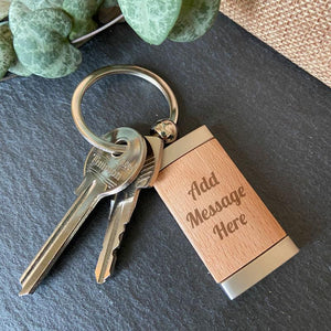 Personalised Engraved Message Rectangle Wooden Keying