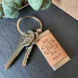 Personalised Engraved Romantic Wooden Keying Initials and Date