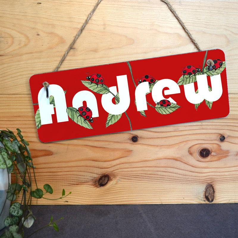 A personalised hanging sign with a ladybird design and a name printed in white lettering